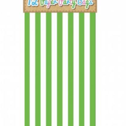 Paper Party Bags Pack Of 12 - Stripe Design