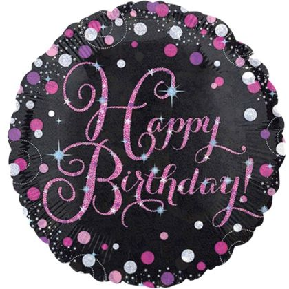 Happy Birthday Pink Sparkling Celebration Balloon - 18inch Foil