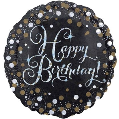 Happy Birthday Gold Sparkling Celebration Balloon - 18inch Foil