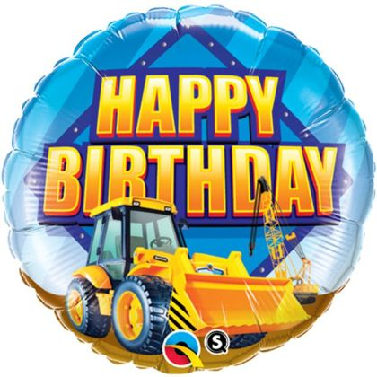 Happy Birthday Construction Zone Balloon - 18inch Foil
