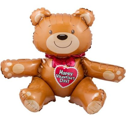 Valentines Sitting Bear Balloon - 19inch Foil