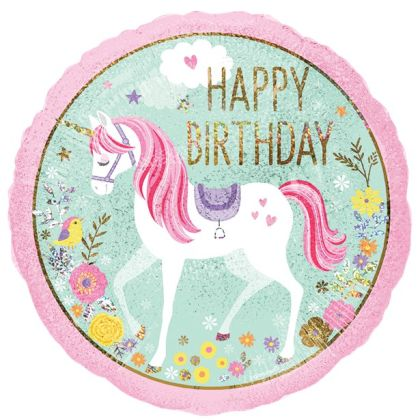 Magical Unicorn Happy Birthday Balloon - 18inch Foil