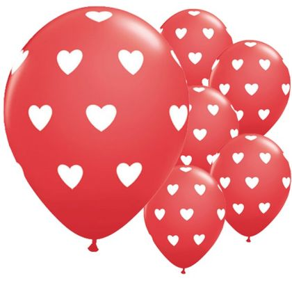 Big Red Hearts Balloons - 11inch Latex (6pk)