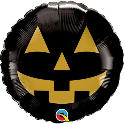 Black And Gold Pumpkin Balloon 18 Inch