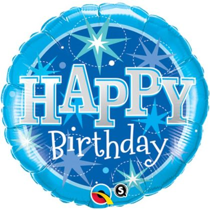Happy Birthday Blue Sparkle Balloon - 18inch Foil