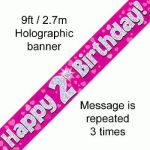 Pink Numbered Birthday 9ft/2.7m Holographic Banner