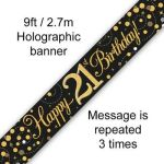 Sparkling Fizz Numbered Birthday Black & Gold 9ft/2.7m Holographic Banner