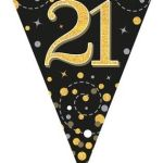 Party Bunting Sparkling Fizz Numbers Black & Gold 11 Flags 3.9m