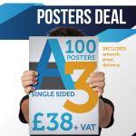 100 X A3 Single Sided Posters 170gsm (incs Design/print/delivery)