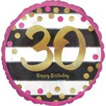18 Inch Pink And Gold Milestone Birthday Holographic Balloons