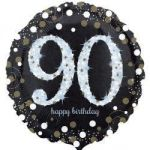 18 Inch Black And Gold Milestone Birthday Foil Balloons
