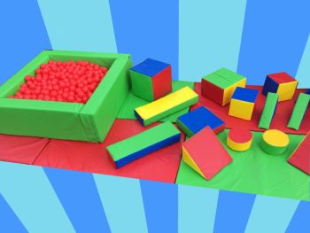 17pc Multi Coloured Soft Play Shape Set & Ball Pool