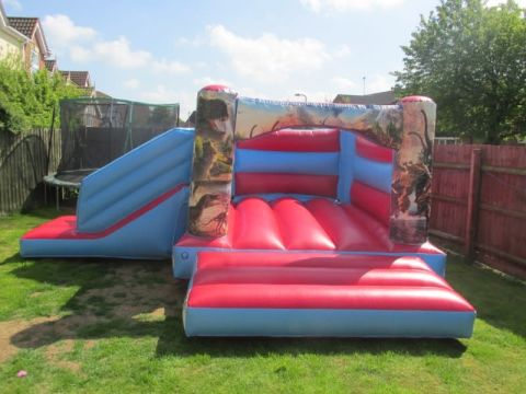 Red Jurassic Bounce And Slide Bouncy Castle