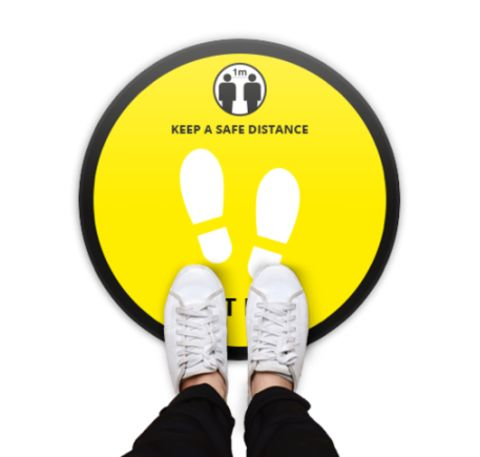 Round Floor Safety Stickers Covid 19 Yellow