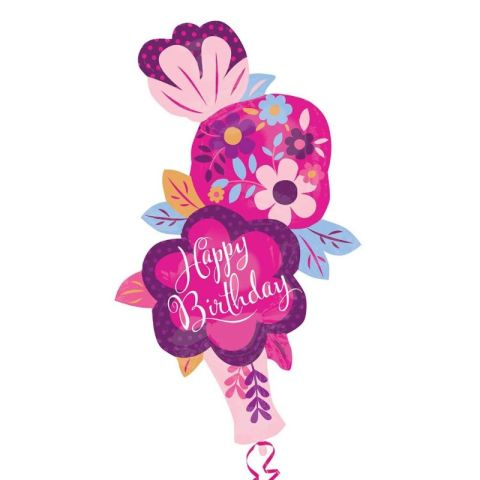 41 Inch Dainty Floral Vase Happy Birthday Foil Supershape