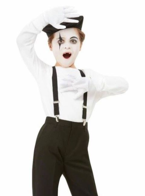 Kids Mime Kit (beret, Gloves, Braces, Make Up Palette) - One Size