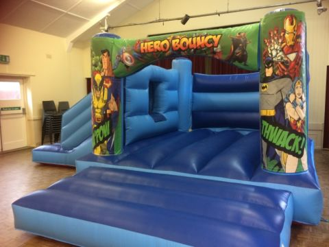 Blue Marvel Bounce And Slide Bouncy Castle