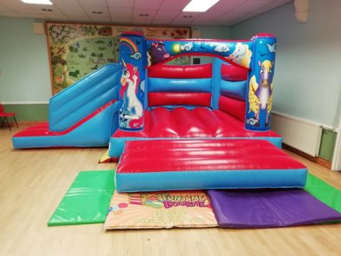 Red Unicorn Bounce And Slide Bouncy Castle