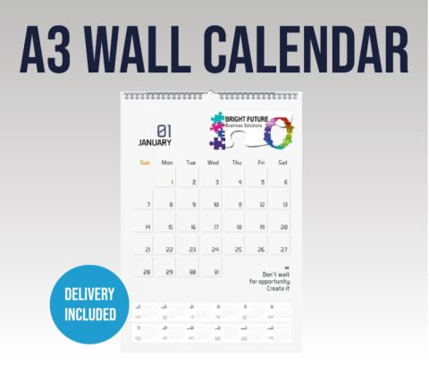 A3 Wall Calendar With Your Branding And 13 Pages Inc Cover