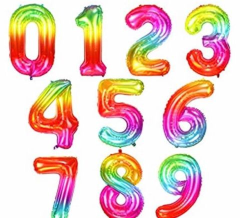 Numbered Balloons In Rainbow Colours