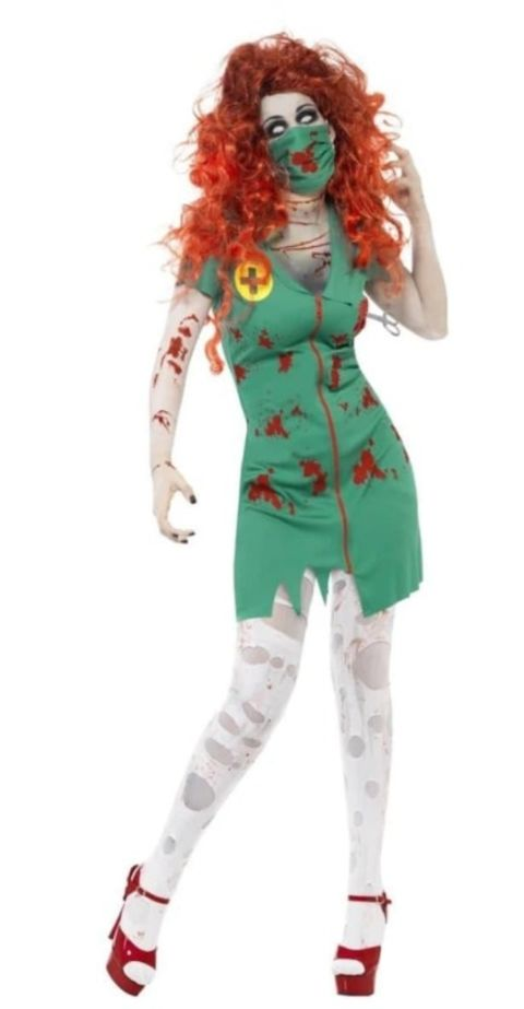 Zombie Scrub Nurse Fancy Dress Costume
