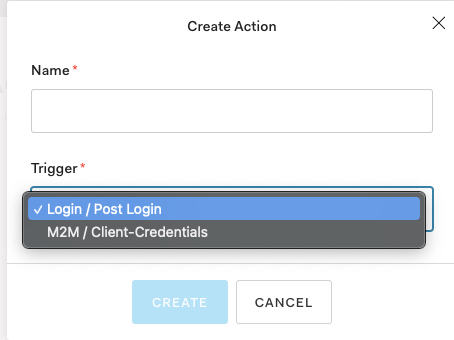 Auth0 Action triggers