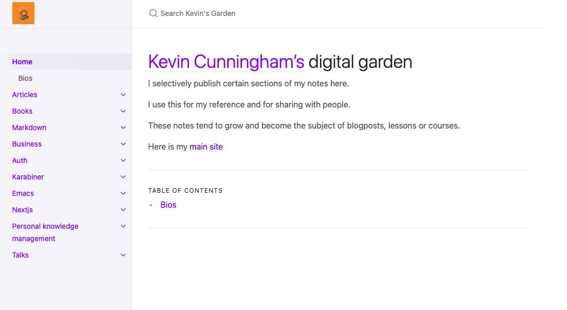 ScreenShot of @dolearning digital garden
