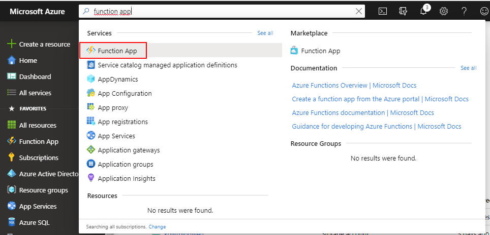Search for Function App in the Azure Portal.