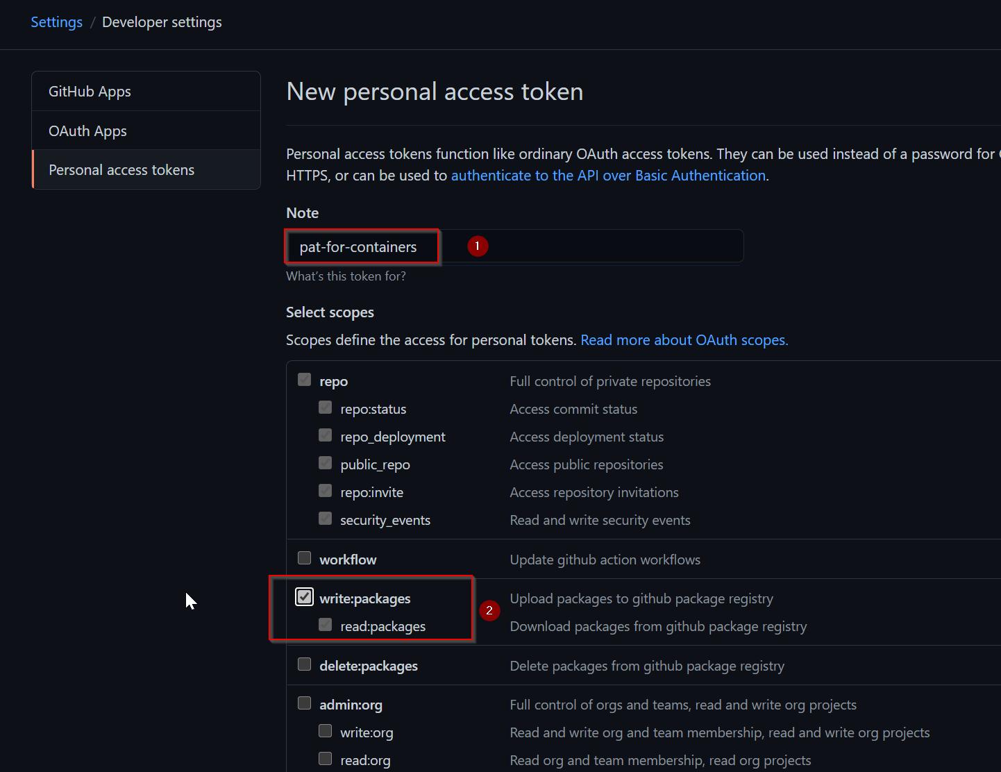 Personal Access Token Scope