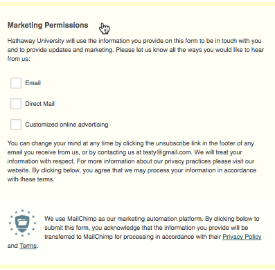 MAilChimp helps with GDPR