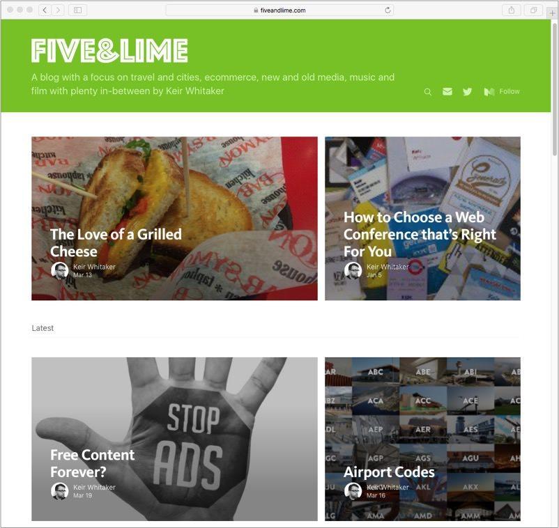 Screenshot of Five & Lime Blog