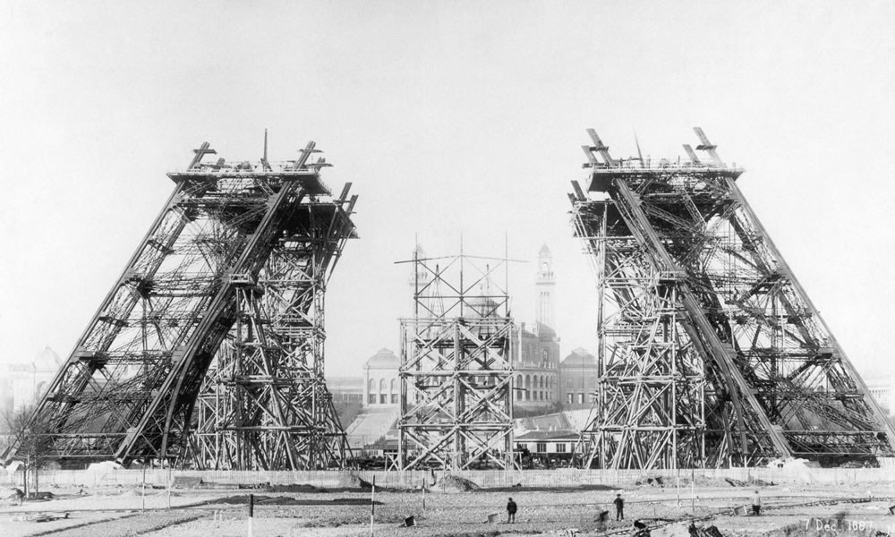 An Under Construction shot of the Eifell Tower