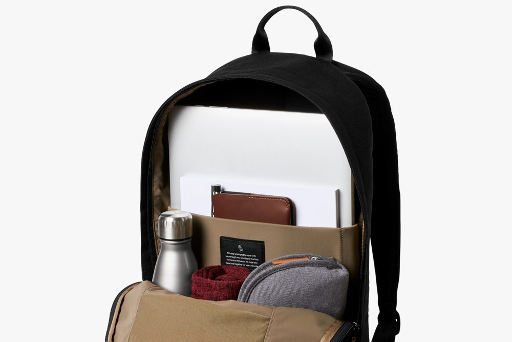 The Black Bellroy Campus Backpack Interior