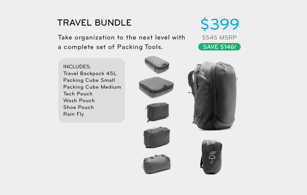Travel Bundle: Backpack + Packing Tools