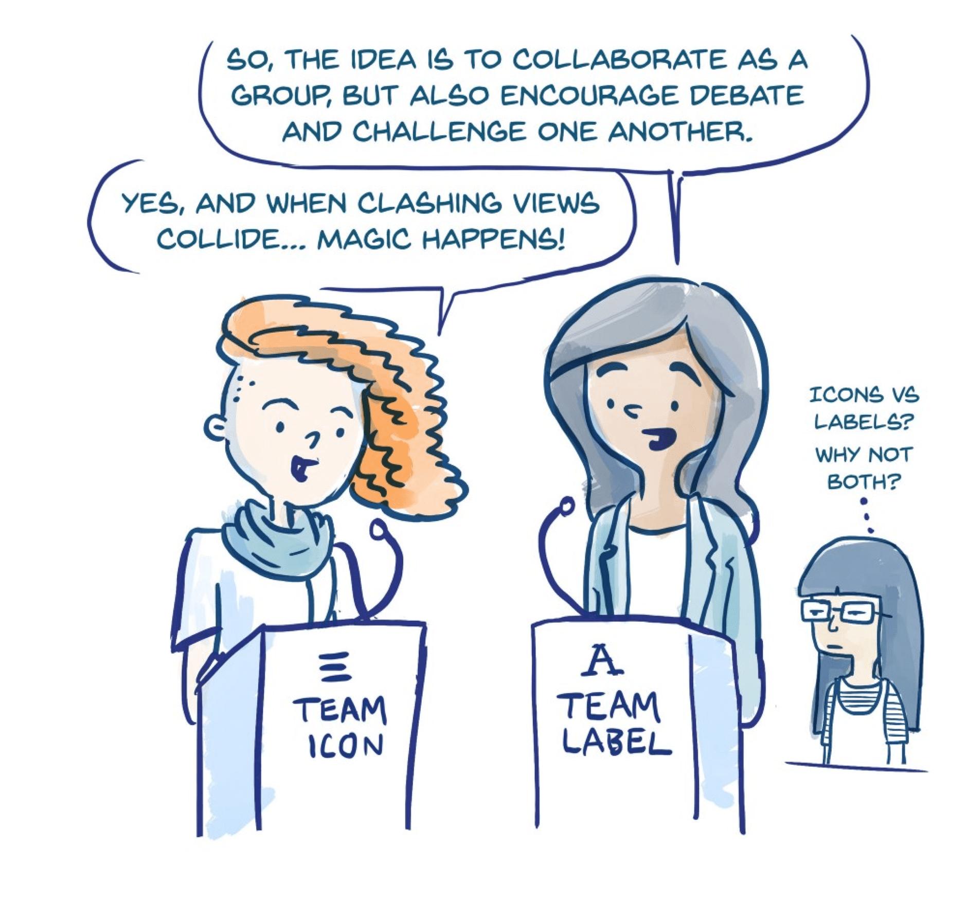 Labels vs Icon illustration