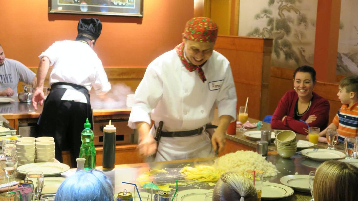 Chef cooking at hibachi
