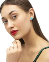 Lillia Butterfly Silver Stud Earrings in Turquoise Kyocera Opal