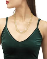 Mollie Gold Multi Stand Necklace in White Pearl