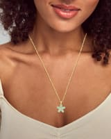Kyla Flower Gold Pendant Necklace in Teal Mother of Pearl