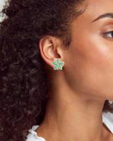 Kyla Flower Gold Stud Earrings in Teal Mother of Pearl