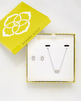 Cade Earrings and Chelsea Necklace Set in Iridescent Clear Glass
