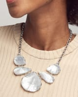 Kenzie Silver Statement Necklace In Ivory Mother-Of-Pearl