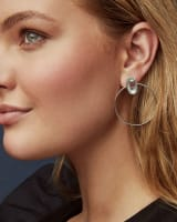 Mayra Silver Hoop Earrings in Platinum Drusy