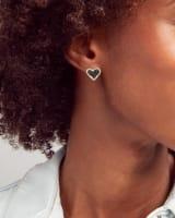 Ari Heart Gold Stud Earrings in Black Drusy