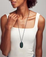 Faceted Reid Gunmetal Long Pendant Necklace in Green Tiger's Eye
