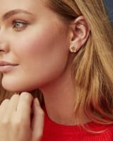 Jae Star Gold Stud Earrings in Orange Goldstone