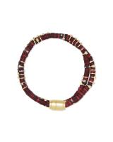 Reece Gold Wrap Bracelet in Maroon Mix