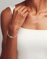 Grayson Gold Stretch Bracelet in Light Blue Magnesite