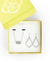 Sophia Earrings & Elisa Necklace Gift Set in Silver