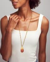Freida Vintage Gold Long Pendant Necklace in Burnt Sienna Howlite
